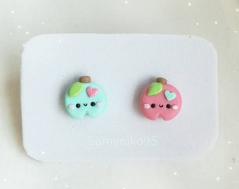 Kawaii Pastel Apple Earrings - Kawaii Apple Earrings - Kawaii Polymer Clay Earrings - Cute Earrings - Baby Kawaii - Adult Kawaii