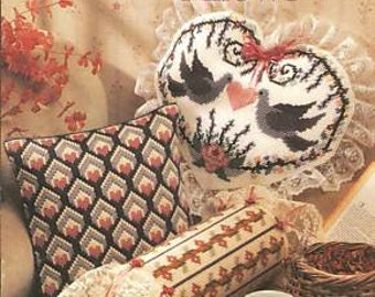 Decorative Pillows In Plastic Canvas Cross Stitch Chart - 8 Designs