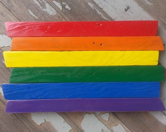 Rainbow Flag painted on reclaimed Wood / Pride Wall Art / Gay Pride Decor / Rainbow Wood Decor / LGBT / Equal Rights