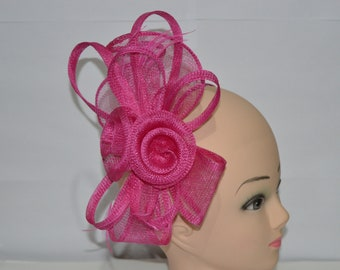Fuchsia Pink Sinamay Bow and Feathers Hair Fascinator With Headband n Clip