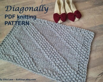 PDF KNITTING PATTERN rug Diagonally