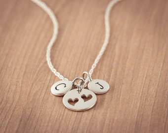 Mother Cutout Two Heart with Personal Two(2) Inititals  Necklace, Sterling Silver Heart Jewelry, Friendship Necklace Gift,  Mother Necklace
