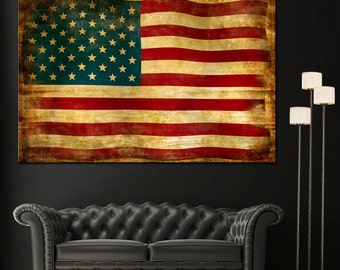 Vintage American Flag Home Decor Wall Art Canvas Giclee Print - Highest Quality Canvas Den Prints - Not stretched or framed