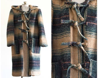 1970s brown plaid coat with hood and tie front