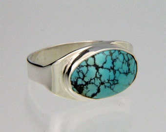 Sterling Silver Band Ring - SpiderwebTurquoise - December Birthstone - Made in USA by Me - FREE Shipping