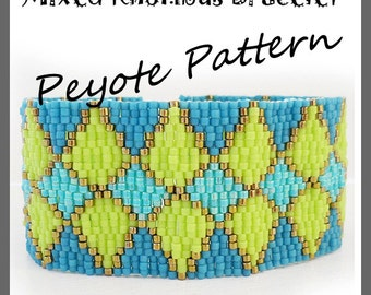 Mixed Rhombus Bracelet - Diamond Peyote Pattern Bracelet - For Personal Use Only PDF Tutorial , geometric bracelet , easy beadwork tutorial