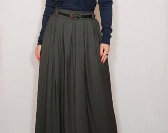 Gray wool skirt Long skirt for women High waisted maxi skirt with pockets A line wool skirt