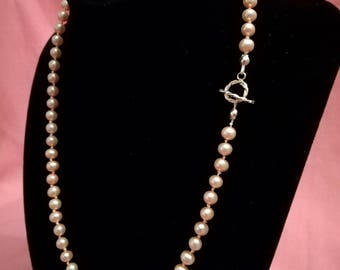 "Beautiful, hand-knotted pale pink fresh water pearls with sterling silver clasp. 19"" - gifts for her/wedding/bridesmaid p008"