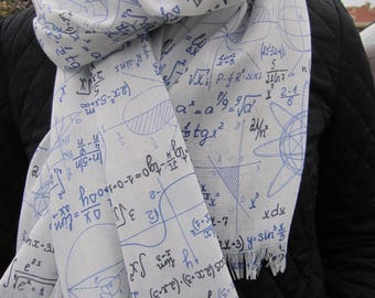 Mathematics Pattern Scarf, geometrical shapes writing print fabric Geek shawl Scarf - book lover gift  teacher christmas gifts for man woman