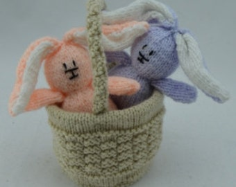 Easter Rabbits in a Basket Knitting Pattern, Easter Bunny Knitting Pattern, Rabbit Knit Pattern, Easter Knitting Pattern, Toy Rabbit Knit