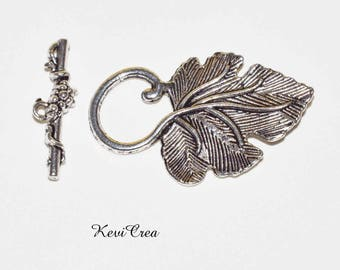 5 x clasps silver plated Vine Leaf toggle