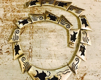 Beautiful Native American Sterling Silver Fish Shadow Box Vintage Necklace Singed