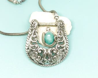 Vintage Necklace, Buckle Necklace, Buckle Jewelry, Silver Buckle Jewelry