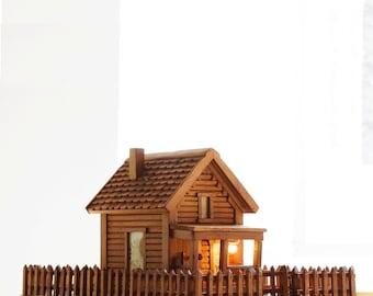 American Folk Art Log Cabin Light