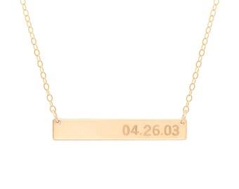 Date Bar Necklace / Gold Engraved Bar Necklace