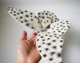 Fabric sculpture -Large white and black butterfly textile art