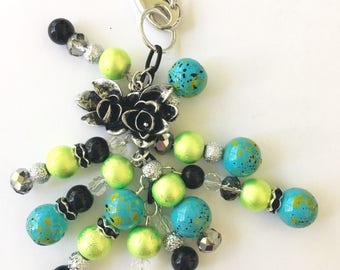 Beautiful Bright Blue and Green Planner Charm - Planner Accessories, Purse Charm, Travelers Notebook Charm, and more