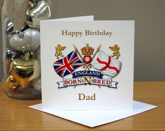 Personalised England Born N Bred Birthday Card - English - Cards For Him - For Men - For Friends - Dad/Daddy/Uncle/Son - ANY NAME/AGE