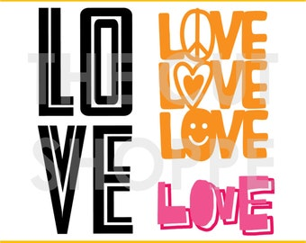 The All the Love cut file includes 3 love themed phrases for your scrapbook and papercrafting projects.