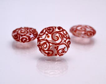 clear jewelry making bead artisan lampwork set colorful jewelry bead lentils bead handmade jewelry making set clear red glass bead coin
