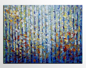 Large Art, Canvas Painting, Birch Tree Painting, Abstract Painting, Wall Art, Abstract Art, Canvas Art, Oil Painting, Painting, Wedding Gift
