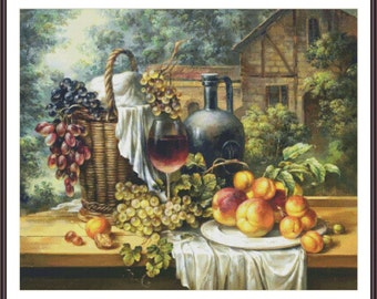 Still Life Counted Cross Stitch Pattern | Large Cross Stitch Chart | Cross Stitch Grapes Peaches Wine | Printable PDF | Instant Download