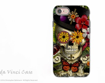 New Orleans Sugar Skull - Voodoo iPhone 7 / 8 Tough Case - Botanical Skull Dual Layer Case - Baron in Bloom