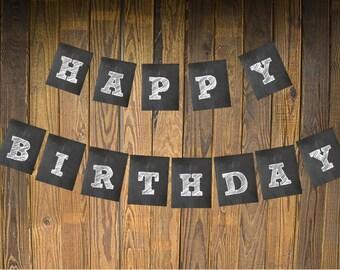 Instant Download- Chalkboard- Happy Birthday Banner
