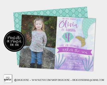 MERMAID INVITATIONS // Mermaid Birthday Invitation // Under the Sea Invitation // Mermaid Birthday Party // Teal // Purple // Gold