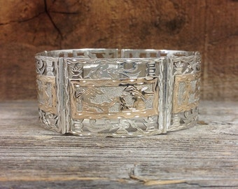 Silver and Gold Hand Pierced bracelet