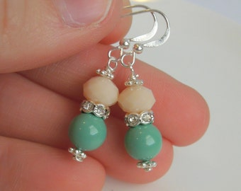 Mint Bridesmaid Earrings - Pearls and Crystals - Rhinestone - Sterling Silver Option - Mint and Cream
