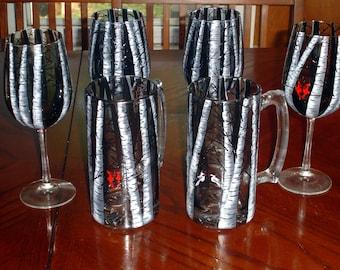 Birch tree glassware set of 4 wine glasses and 2 beer mugs