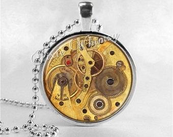 STEAMPUNK Necklace, Steampunk Pendant, Steampunk Jewelry, Altered Art, Watch Parts Gears Glass Photo Art Bezel Pendant