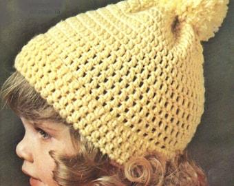 FREE Baby Crochet Pattern, Toddler Crochet Pattern, Toddler Crochet Hat Pattern, Pom Pom Hat Pattern PDF INSTANT Download Pattern (1503)