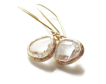 Gift Clear earrings Tear drop earrings Crystal earrings Bridesmaid earrings Gold drop earring Gold bridemaid earrings Bridal gift Gift