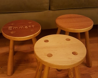 Child round solid maple stool with turned baseball bat legs