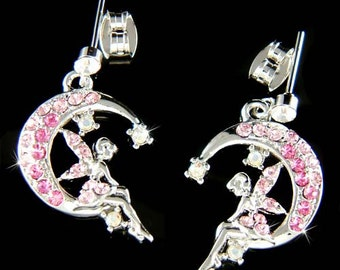Swarovski Crystal Pink Fairy Tink TINKERBELL pixie Angel Wings Crescent Moon Earrings Christmas Gift new