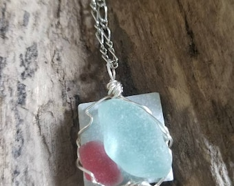 Pink and blue sea glass pendant