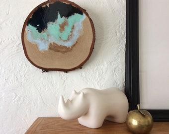 Artifacts of Joy - Mountain Cloud Shoreline Wave Island Beach Artifact Abstract Painting Wood Slice - art - Lauren Strom - Modern Landscape