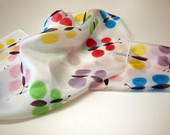 "Handpainted Silk Scarf.Silk Scarf. Butterflies Silk Scarf. Wedding Gift. Silk Art. 55""x18""(140x45 cm) Woman gift. Mother gift. Ooak scarves"