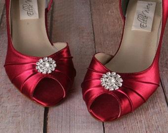 Wedding Shoes, Bridal Heels, Kitten Heel, Red Wedding Shoes, Red Wedding, Wide Width Shoes, Low Heel Wedding Shoes, Custom Wedding Shoes