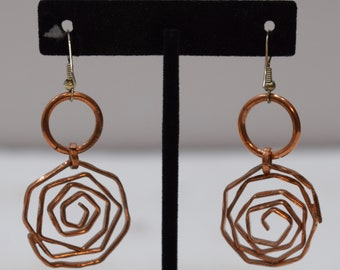 Earrings Plated Copper Textured Coiled Dangle Earrings 58mm