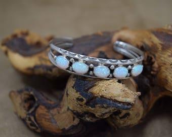 Sterling Sterling Silver White Man Made Opal Cuff Bracelet