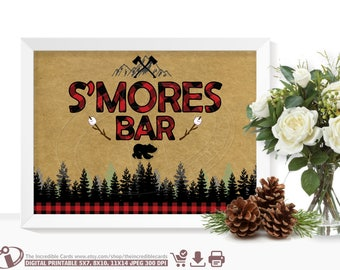 S'mores bar sign LUMBERJACK S'mores bar sign First Birthday Party, Lumberjack birthday party sign Lumberjack baby shower Instant Download