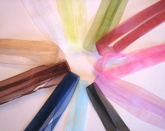 12 VARIETY PACK Sheer Organza Ribbon Necklaces 16.5 inch Black Blue Green Black White Pink Brown