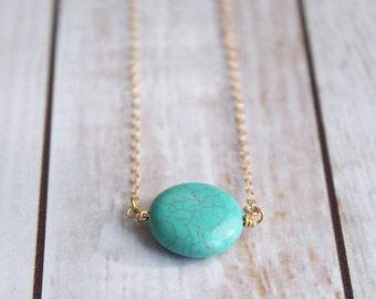 Turquoise Circle Pendant Necklace