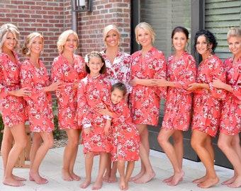 Floral Cotton Robes, Robes for Bridesmaids, Getting Ready Robes, Wedding Robes, Set of  Bridesmaid Robes, Bridesmaids Gifts, Kimono