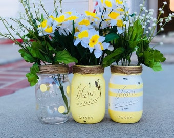 Spring centerpieces mason jars flower vases distressed look