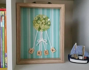 Picabble: New baby scrabble tile framed art. Personalised and hand made gift.