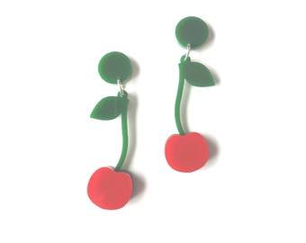 Cherry Earrings - laser cut acrylic earrings